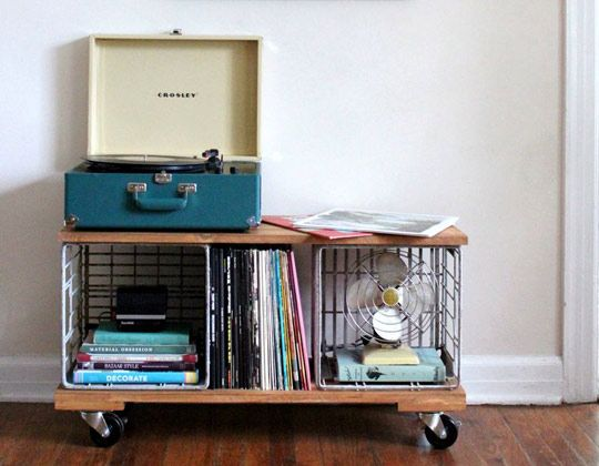 A Record Cabinet Crafted From Milk Crates Record Cabinet