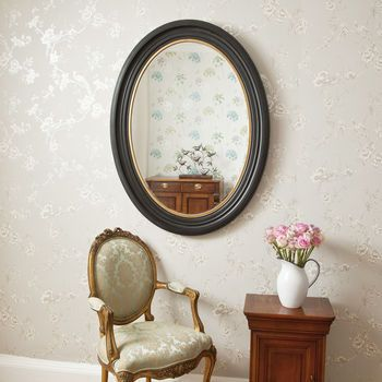 Oval Black And Gold Mirror   Gold and Black