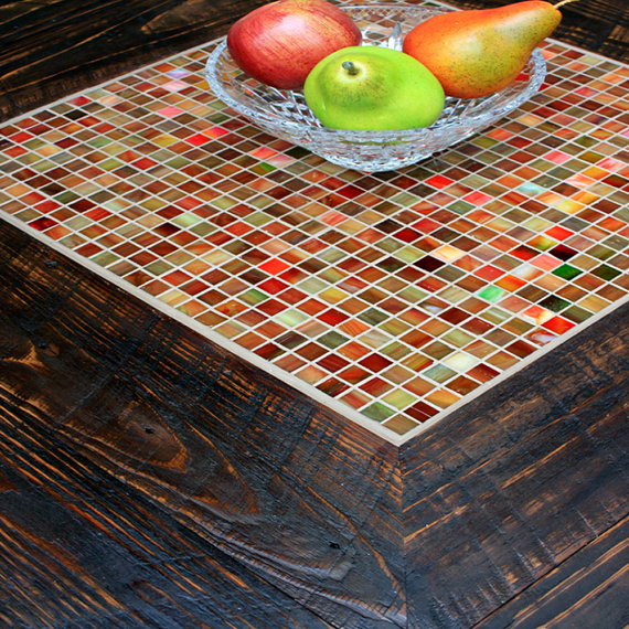 Square Coffee Table with Shelf, Tile Mosaic, Reclaimed ...