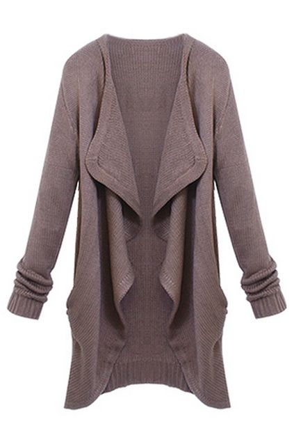 ROMWE | ROMWE Asymmetric Pocketed Long Sleeves Brown Cardigan, The Latest Street Fashion
