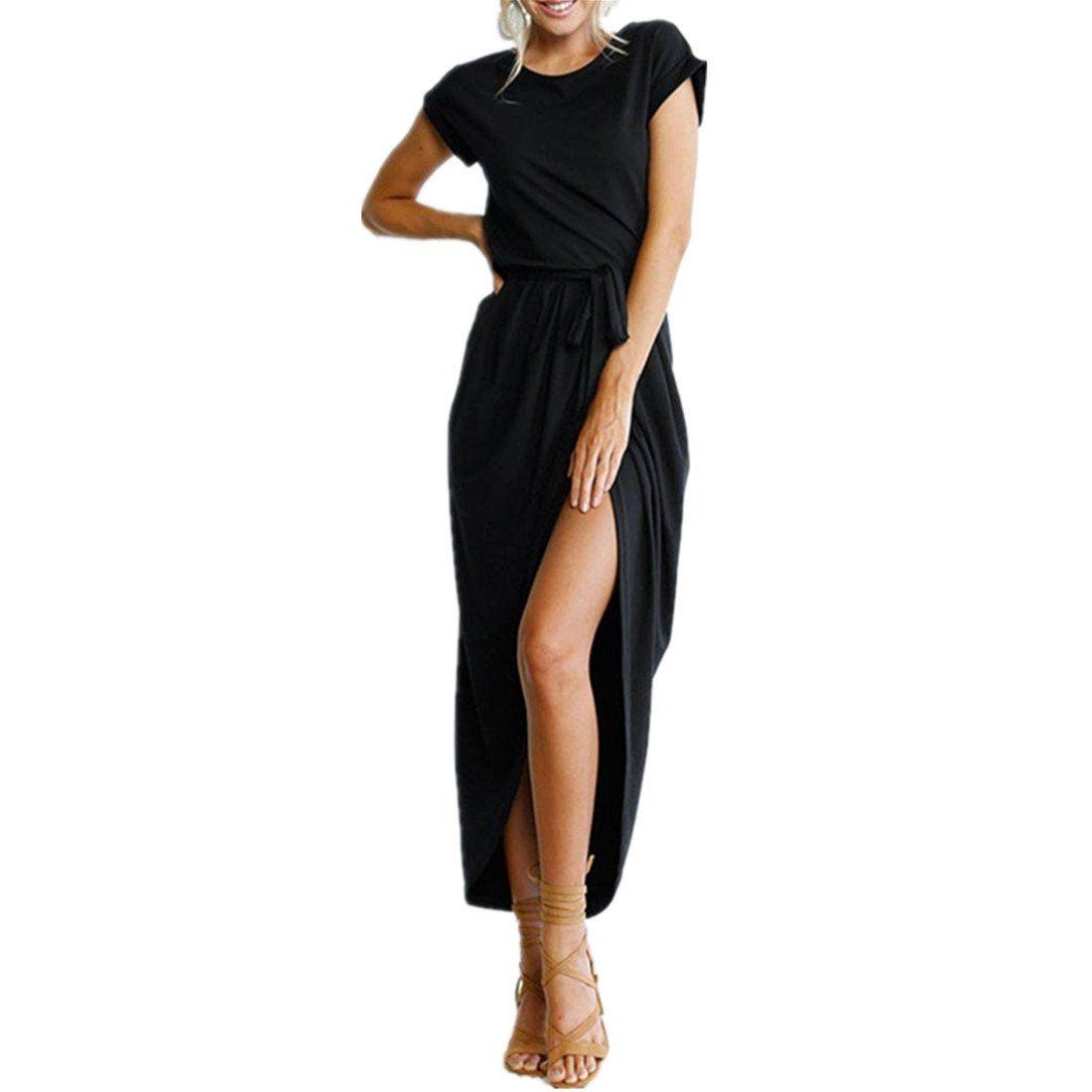kleid damen kolylong® frauen elegant blumen kurzarm kleid