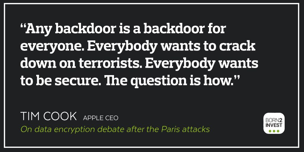 Apple, Facebook, and Google debate over encryption after #ParisAttacks http://news.born2invest.com/story/external/30589 … #privacy #security