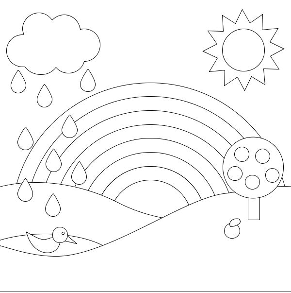 A Rainbow Of Beautiful Scenery Coloring Pages