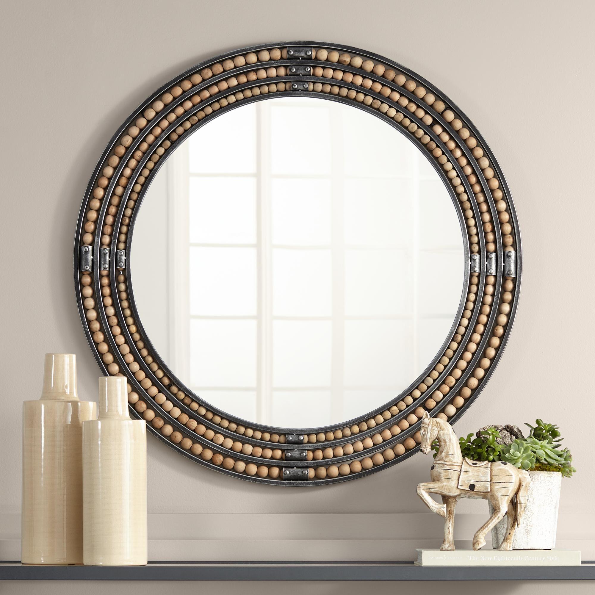 Scott Distressed Black 34 Inch Round Sphere Wall Mirror Mirror