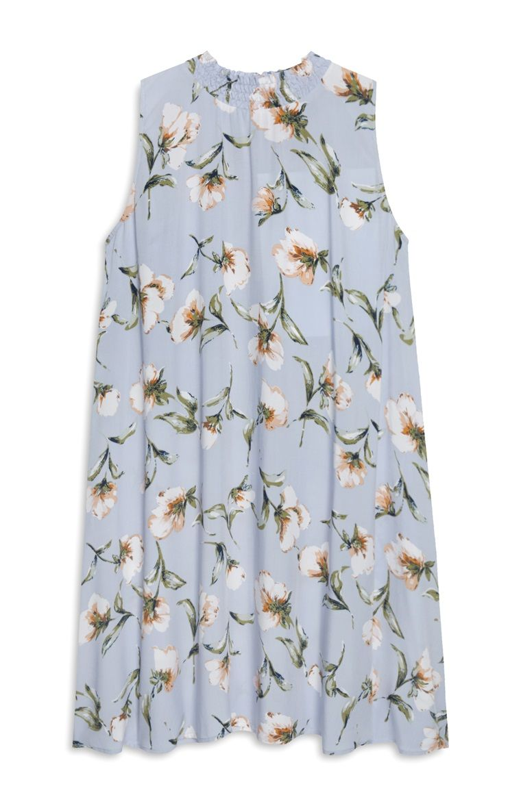 blue floral print sleevless smock dress | fashion, flower