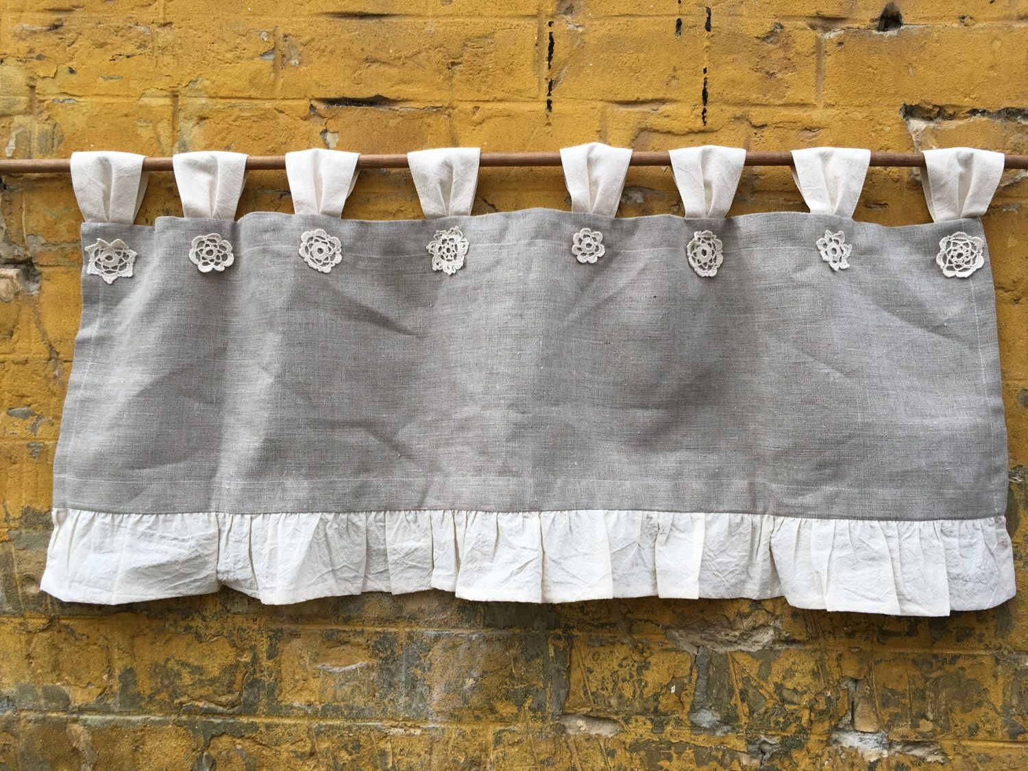 Linen curtains cottage kitchen ruffle valance simple rustic grey