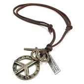 Mens Alloy Genuine Leather Pendant Necklace Gold Tone Cross Peace Sign Adjustable 1626 Inch Mens Alloy Genuine Leather Pendant Necklace Gold Tone Cross Peace Sign Adjusta...