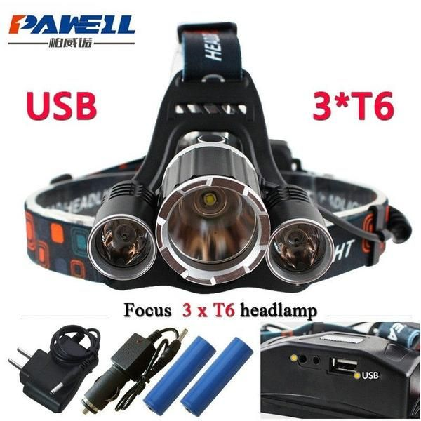 Sports Outdoors 10000 Lumens Usb Led Headlamp Fishing Flashlight Flashlight Led Usb