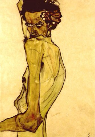 Self Portrait with Arm Twisted Above Head by Egon Schiele, 1910. Watercolour