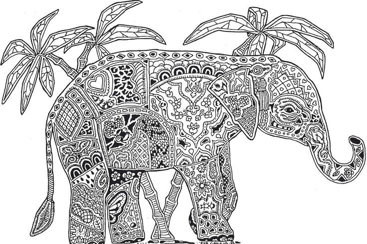 christmas elephant coloring page. click the tiger cub plays with ...