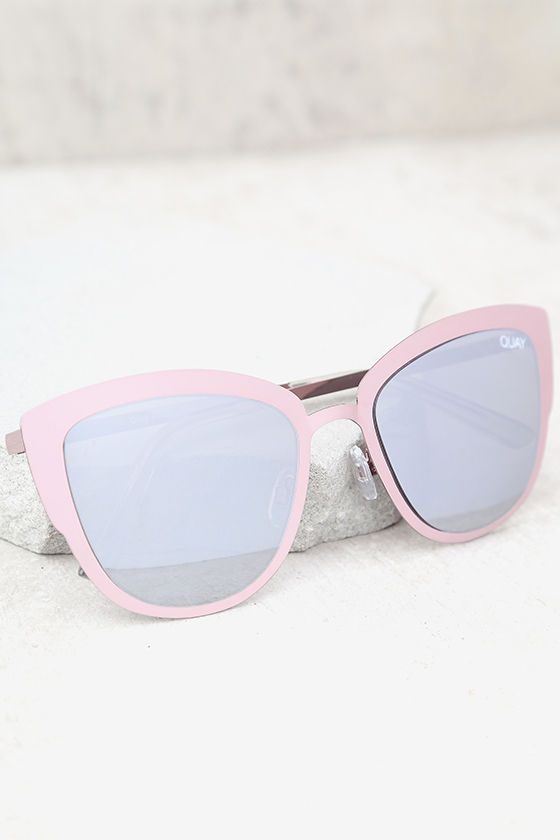 96772de246 Your super powers will be in full force with the Quay Super Girl Silver and  Pink Mirrored Cat-Eye Sunglasses! Shiny