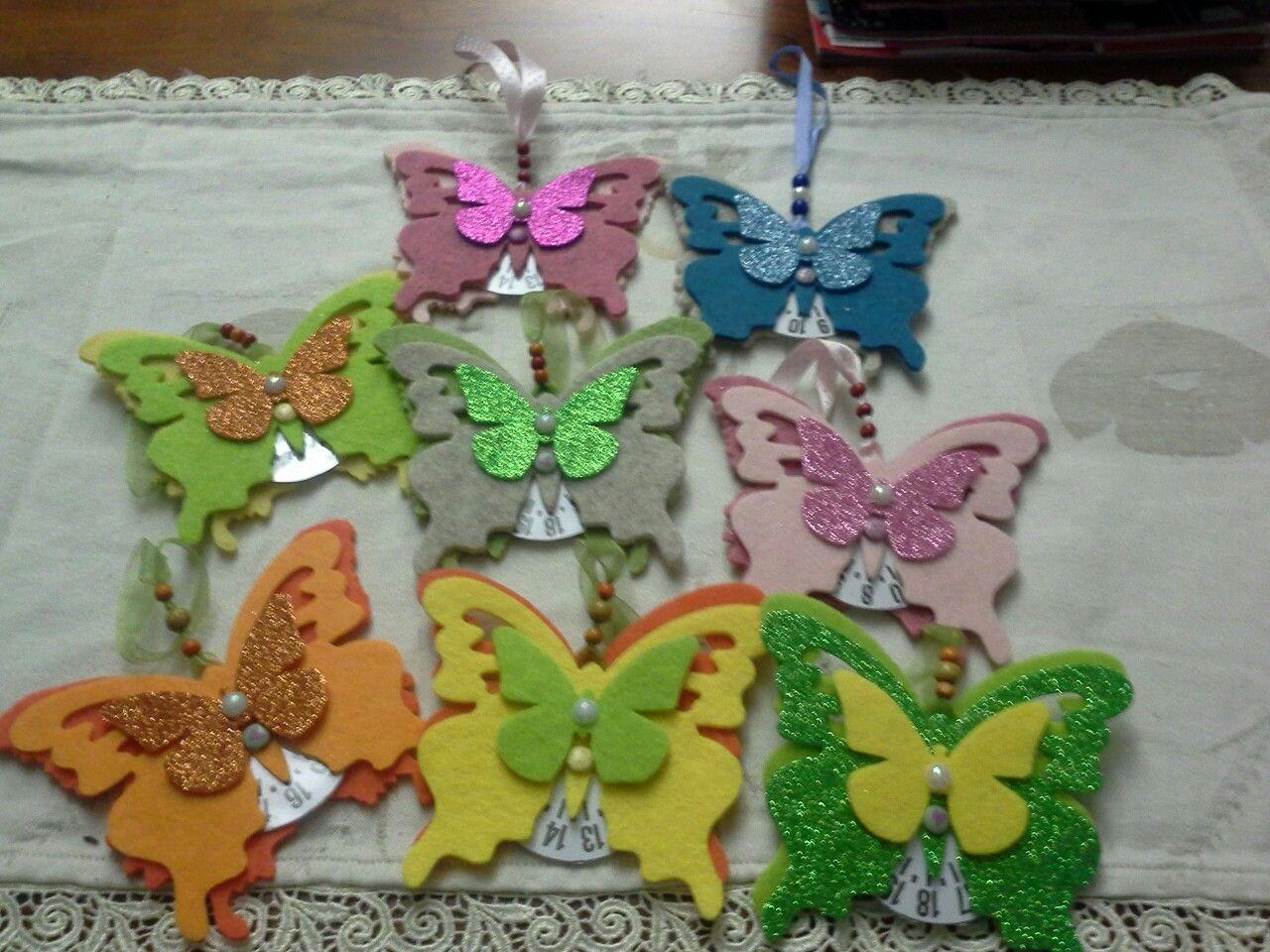 Farfalle disco orario in feltro
