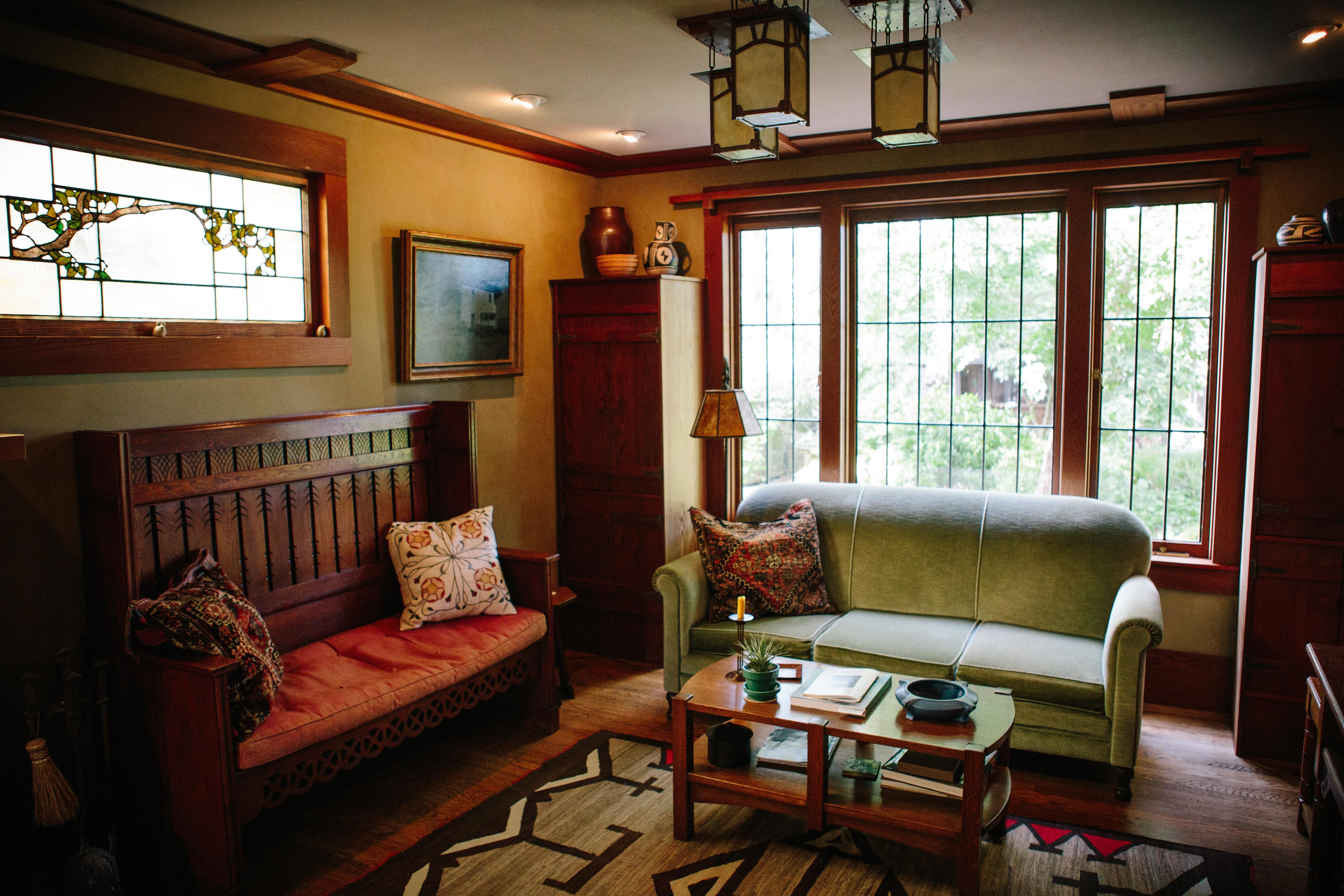 Arts And Crafts Craftsman Bungalow Living Room Stickley Teco Pillows Embroidery Bungalow Living Rooms Bungalow Interiors Craftsman Living Rooms