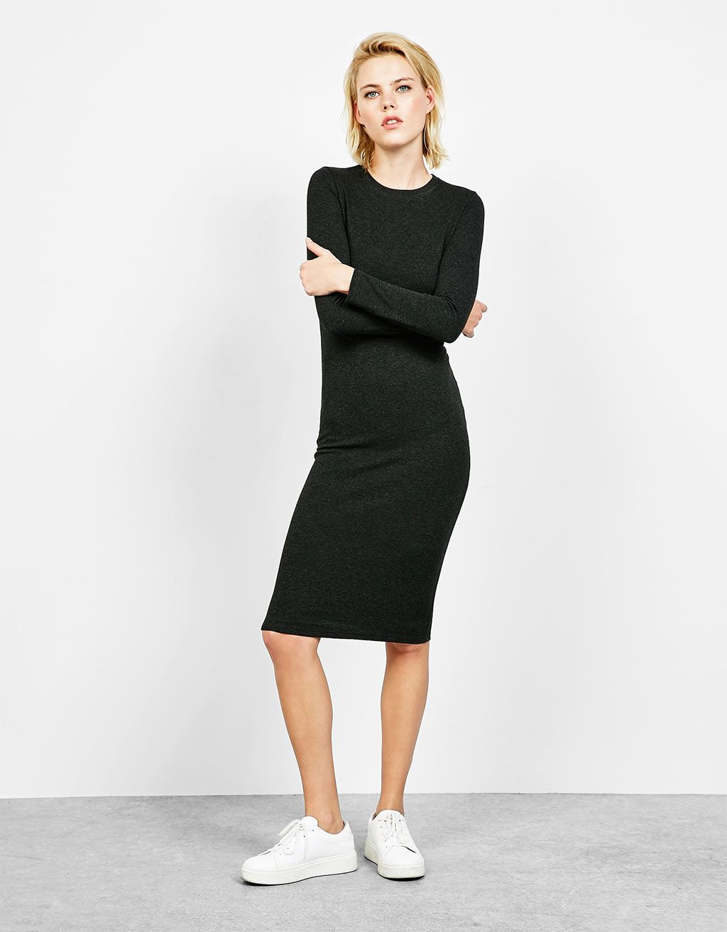 ee58a96b2b Long sleeve tight-fitting ponte di roma dress - Dresses - Bershka Georgia