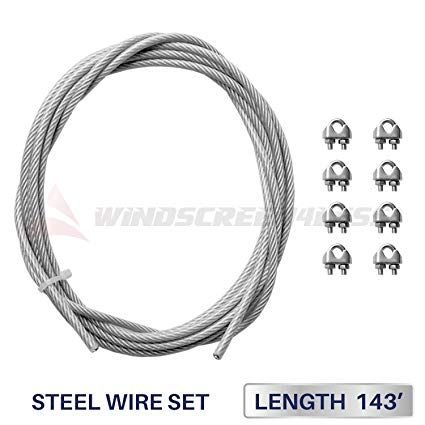 Windscreen4less Shade Sail Wire Rope and 8 Pcs Clips