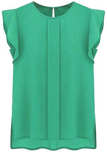 0290d717544ce0 Yayu Womens Fashion Summer Crew Neck Chiffon Plain Blouse Shirt Green M    AMAZON Great Sale