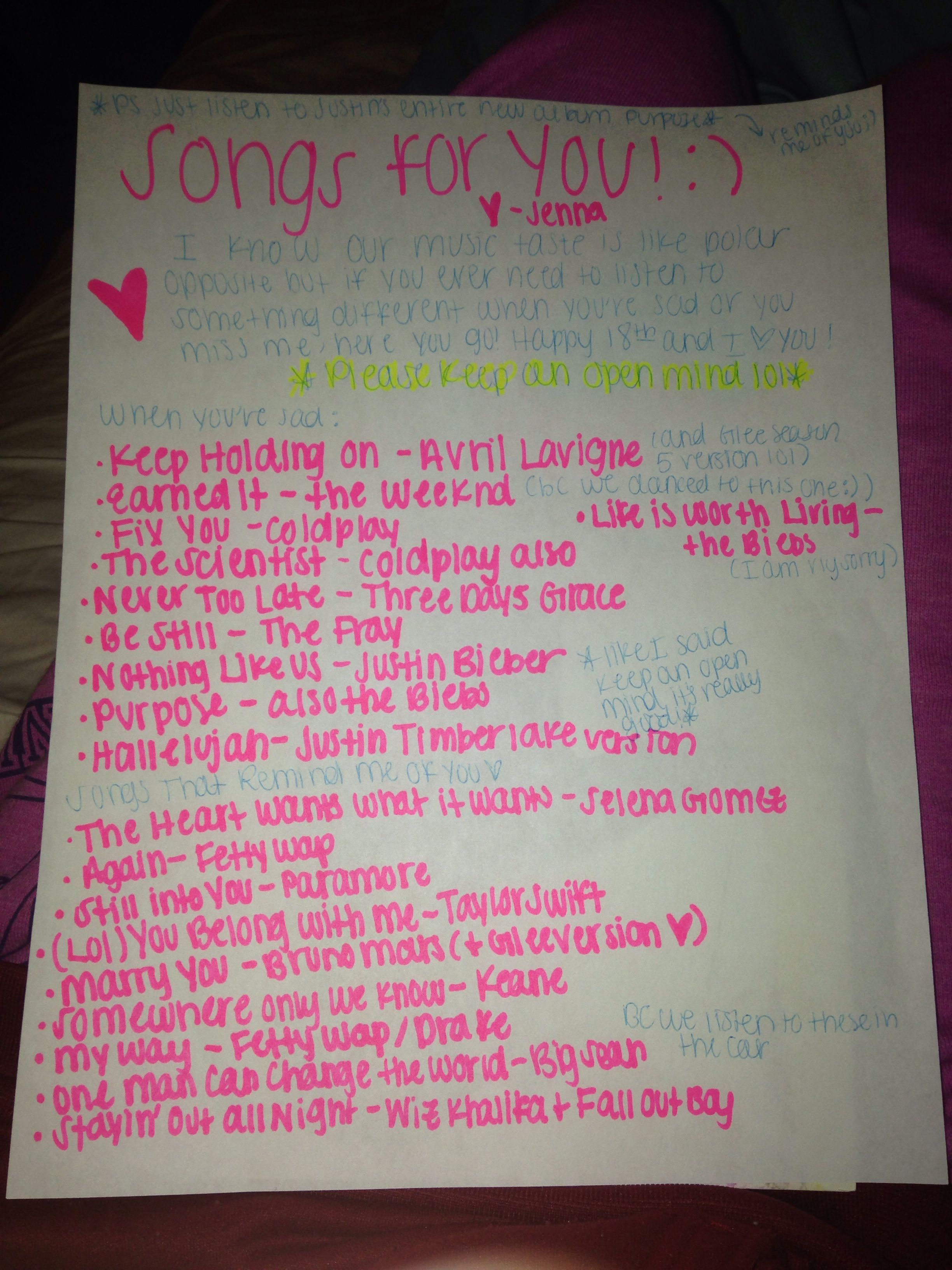 list of love songs for him