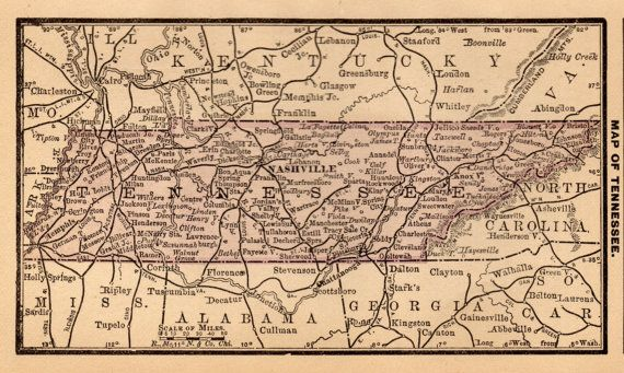 Antique TENNESSEE Map Of Tennessee State Map Miniature - 1888 us map