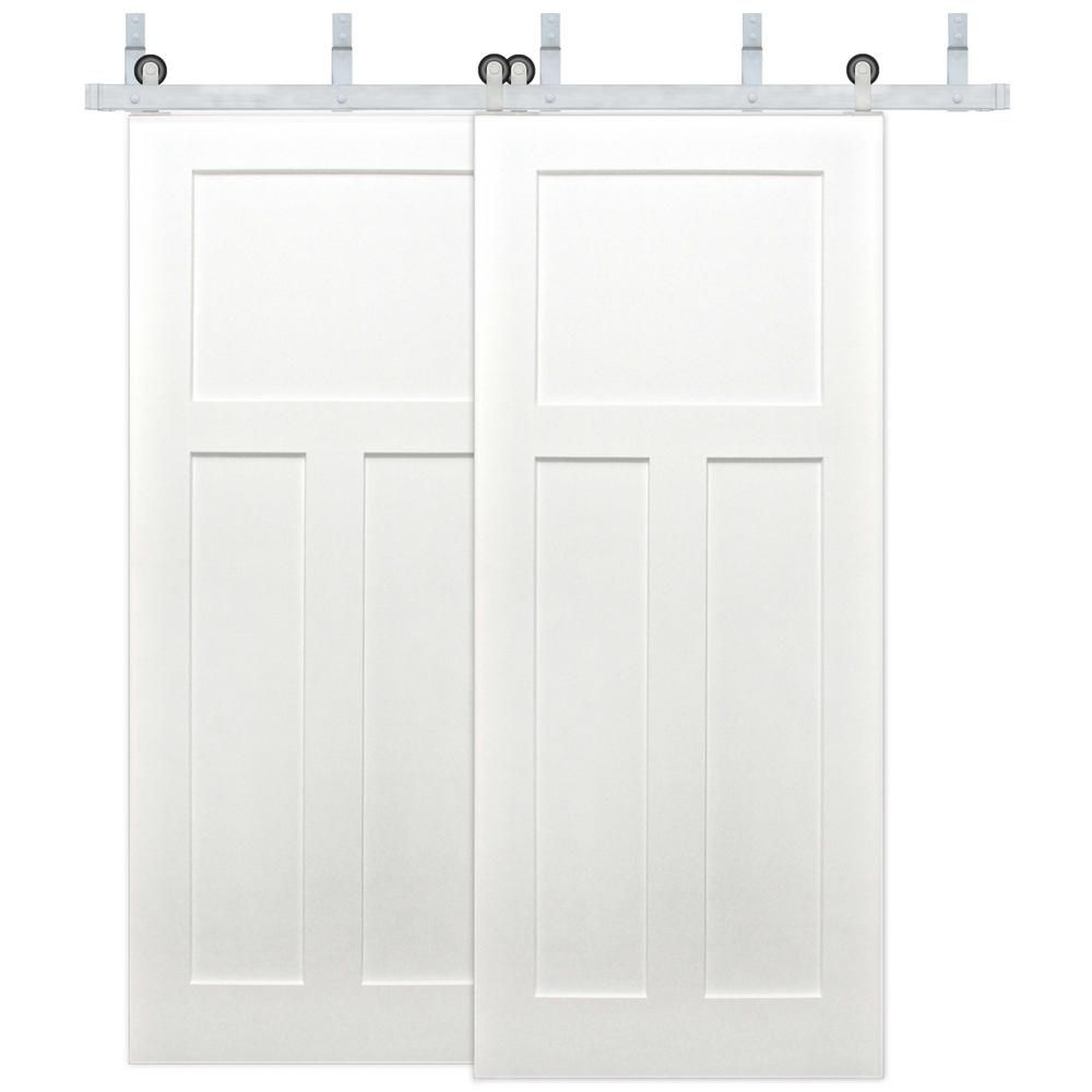Pacific Entries 72 In X 80 In Bypass 3 Panel Solid Core Primed Pine Wood Sliding Barn Door With Stainless Steel Hardware Kit Byp2235 72 15 Wood Barn Door Interior Barn Doors Wood Interiors