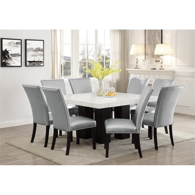 Camilla White Marble Top Square Dining Table Square Dining Tables White Dining Room Sets Rectangle Dining Table