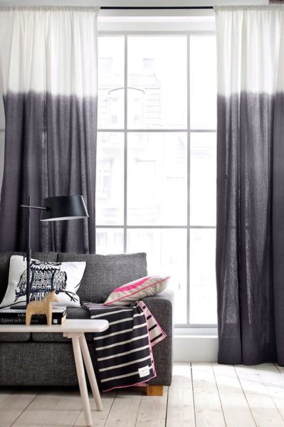les rideaux tie and dye gris dans un salon rideaux. Black Bedroom Furniture Sets. Home Design Ideas