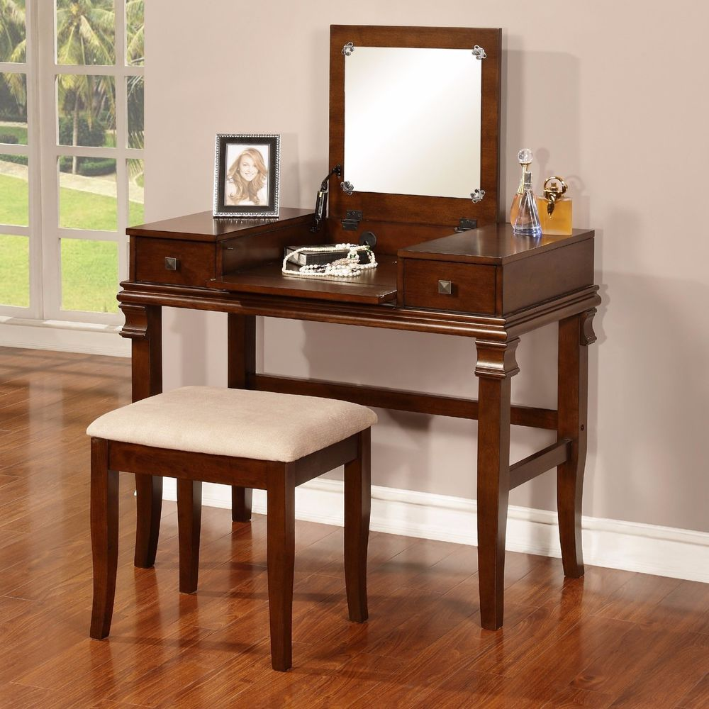 Vanity Set Flip Top Mirror Walnut Wood Stool 2 Drawers