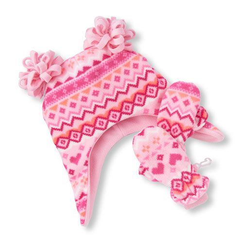 3012ccf93eb Toddler Girls Fair Isle Glacier Fleece Double Pom Pom Hat and Mittens Set