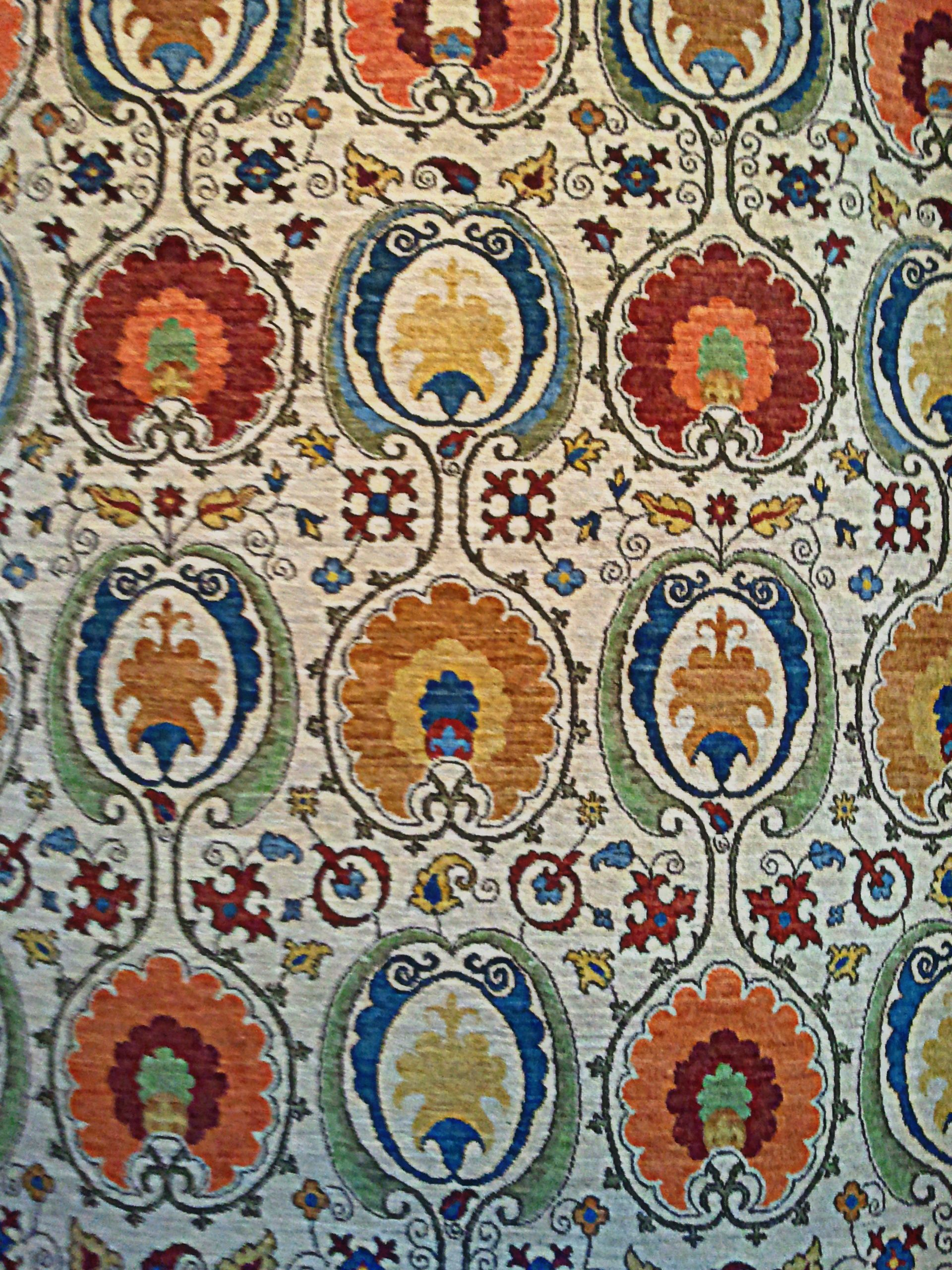 Fine Handmade Persian Wool Rug, Bright Red, Blue And Gold, All Over