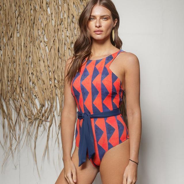 Vacation Slim Pattern One Piece Polka Dot Halter Monokini Swimwear