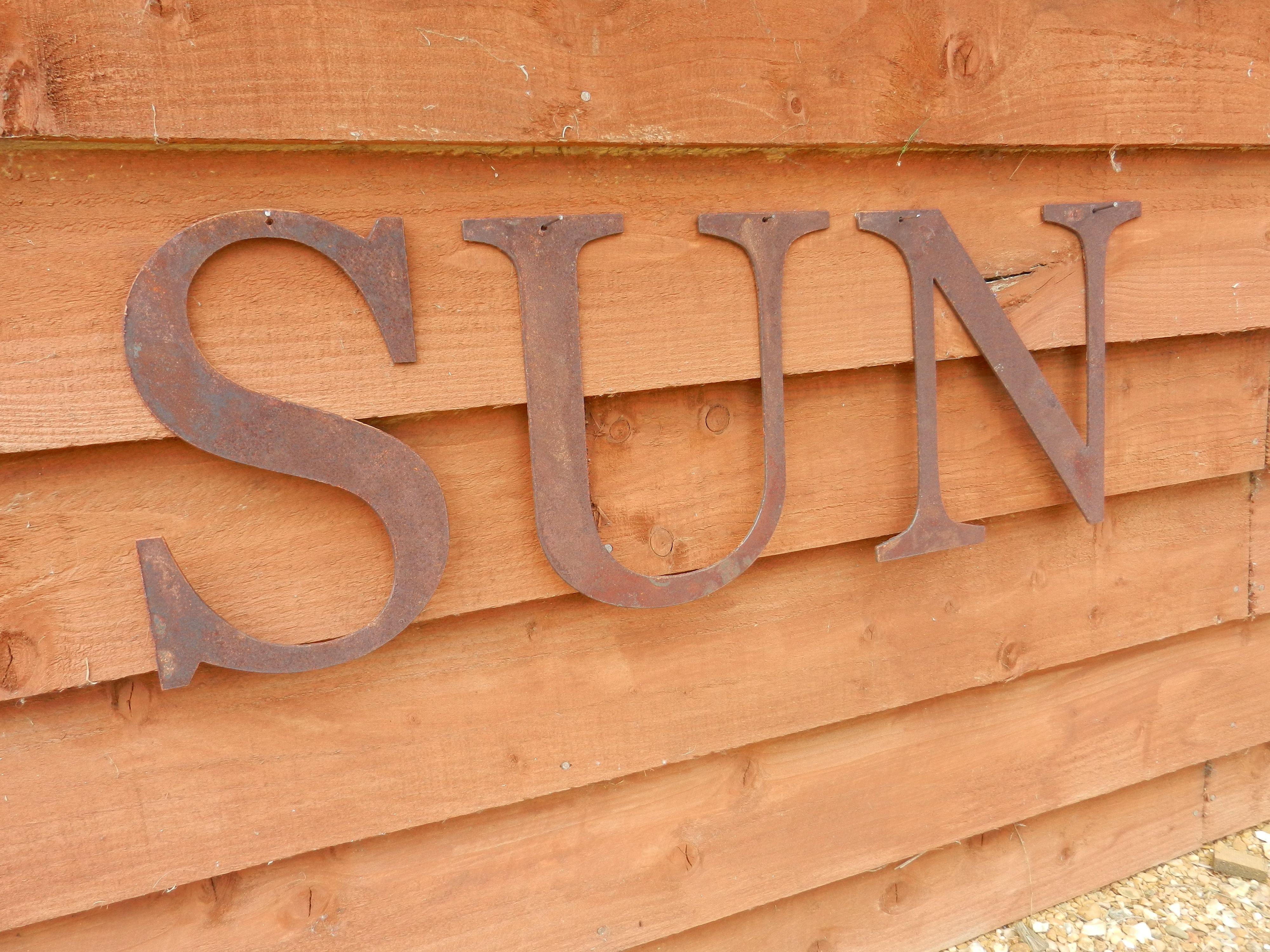 Metal Garden Letters Rusty Metal Sun Lettersrusty Rooster  British Handmade Rusty
