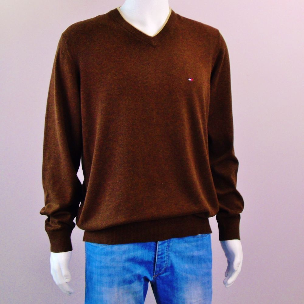 146b3a011a3 Tommy Hilfiger Sweater Flag Logo Pullover Brown V Neck Cotton Mens Size  Large  TommyHilfiger  VNeck