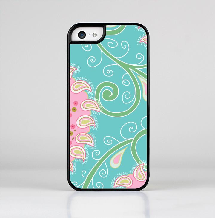 The Pink & Teal Paisley Design Skin-Sert for the Apple iPhone 5c Skin-Sert Case