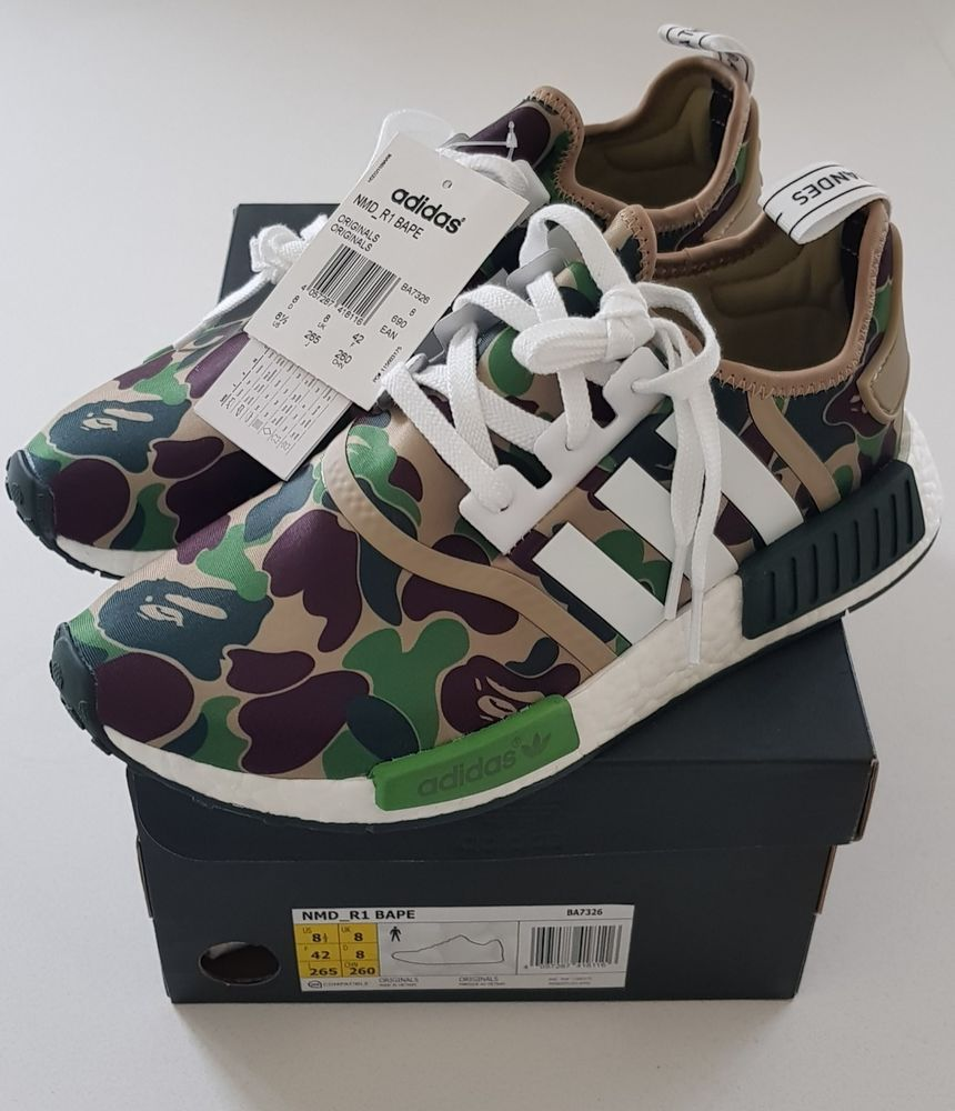 Bape Ape Adidas 100 Genuine X r1 Ba7326 Nmd Camo Bathing Guaranteed fZqBnA