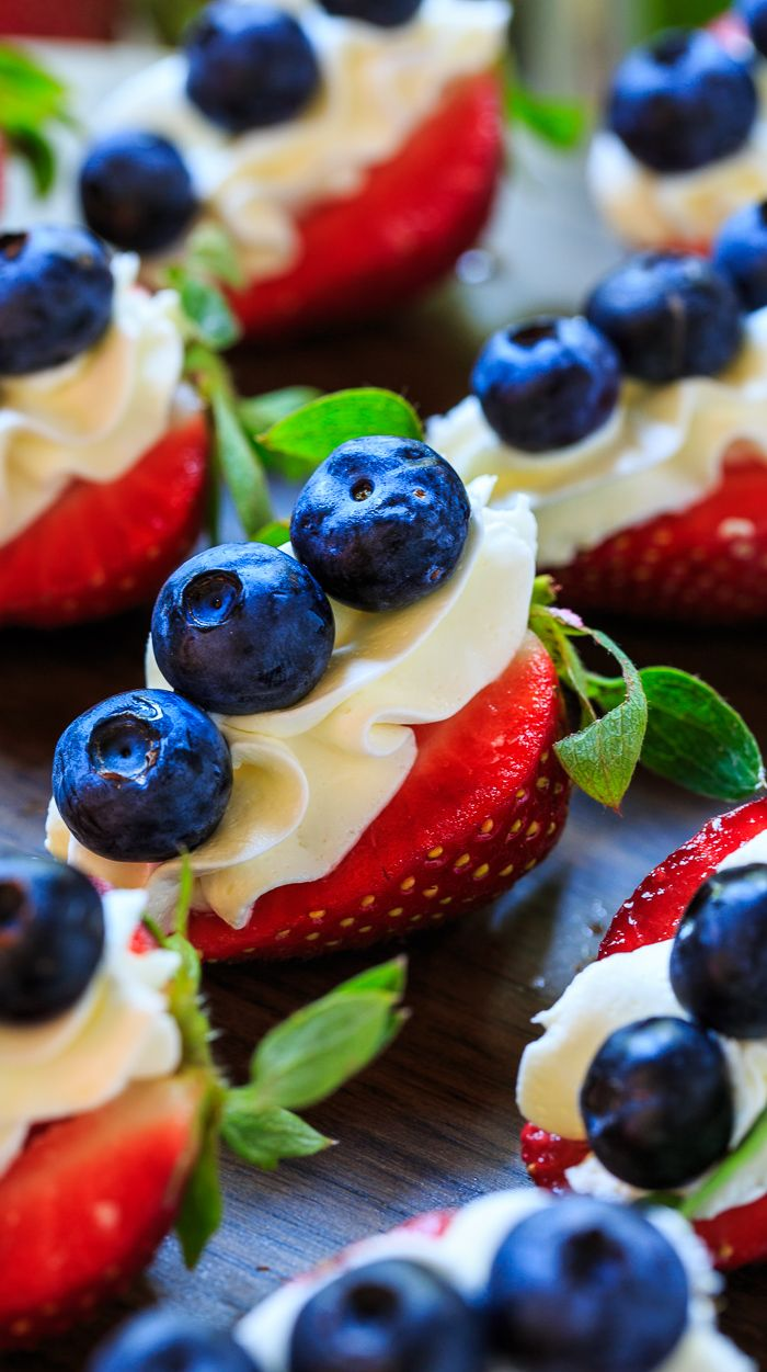 Red, White, and Blue Cheesecake Strawberries are perfect for the 4th of July!