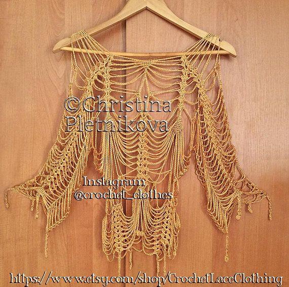 Golden net top sexy spider net beach cover up crochet crop top ...