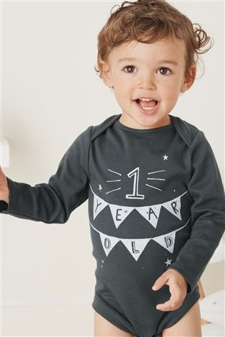 Buy Monochrome Long Sleeve One Year Old Bodysuit (9-18mths) from the Next UK online shop