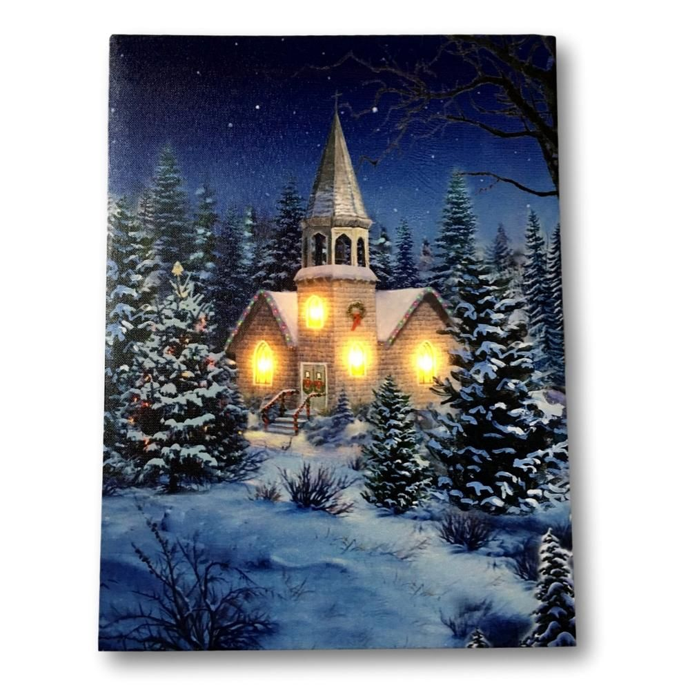 Christmas Wall Art Church At Night Picture With Fiber Optic And Led Lights Winter Scene Canvas Print 2630 Christmas Wall Art Wall Canvas Night Painting