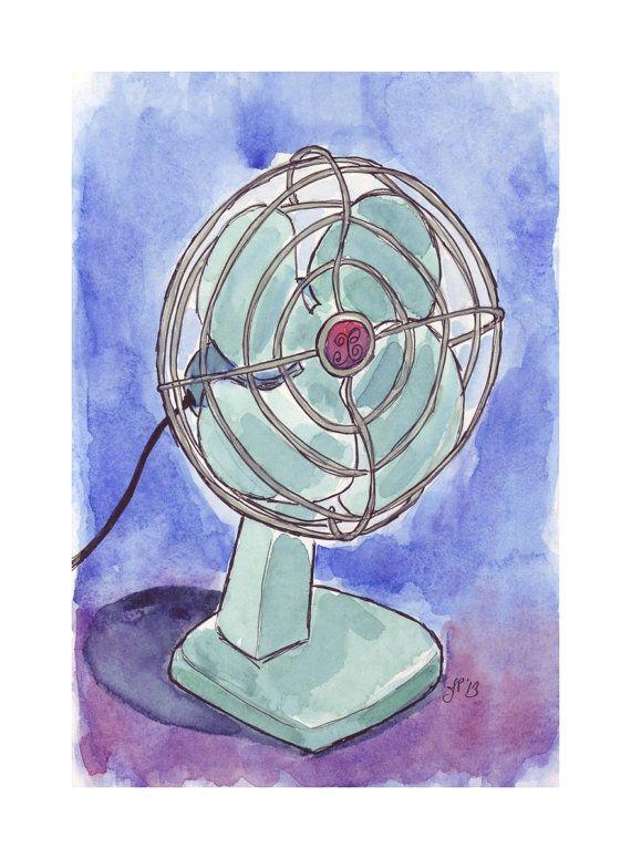 Watercolor Painting  Retro Fan  Vintage Electric Fan by jojolarue