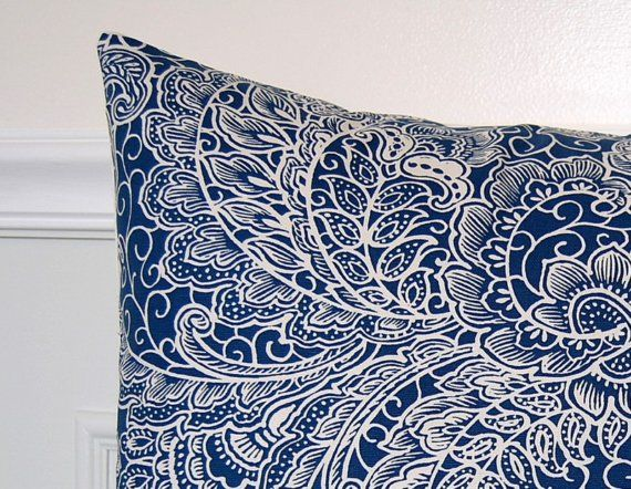 blue and and white decorative pillows | Decorative Pillow Cover, Blue and White Floral Paisley, 18x18