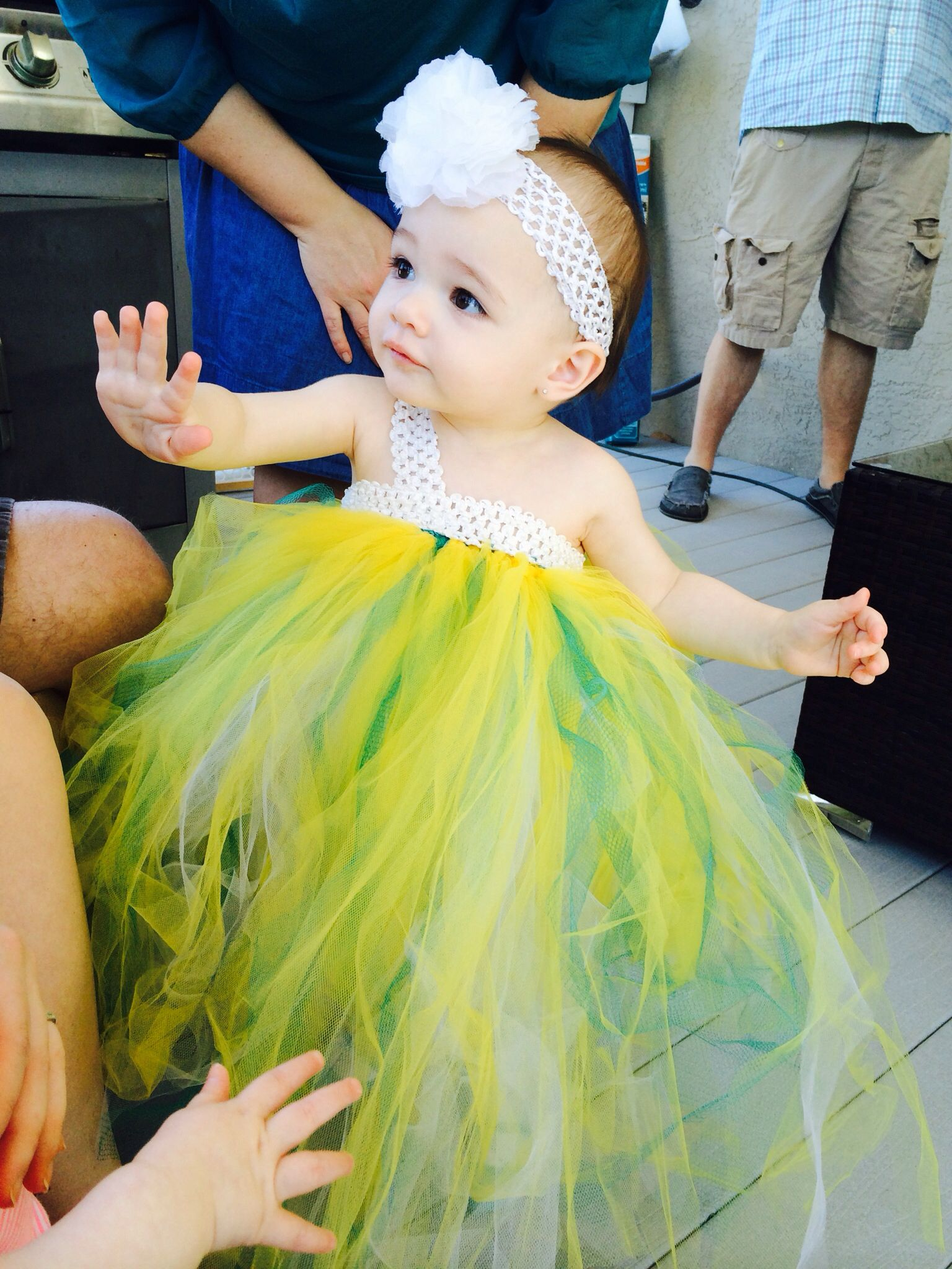 First birthday party dress teal and yellow aqua and yellow