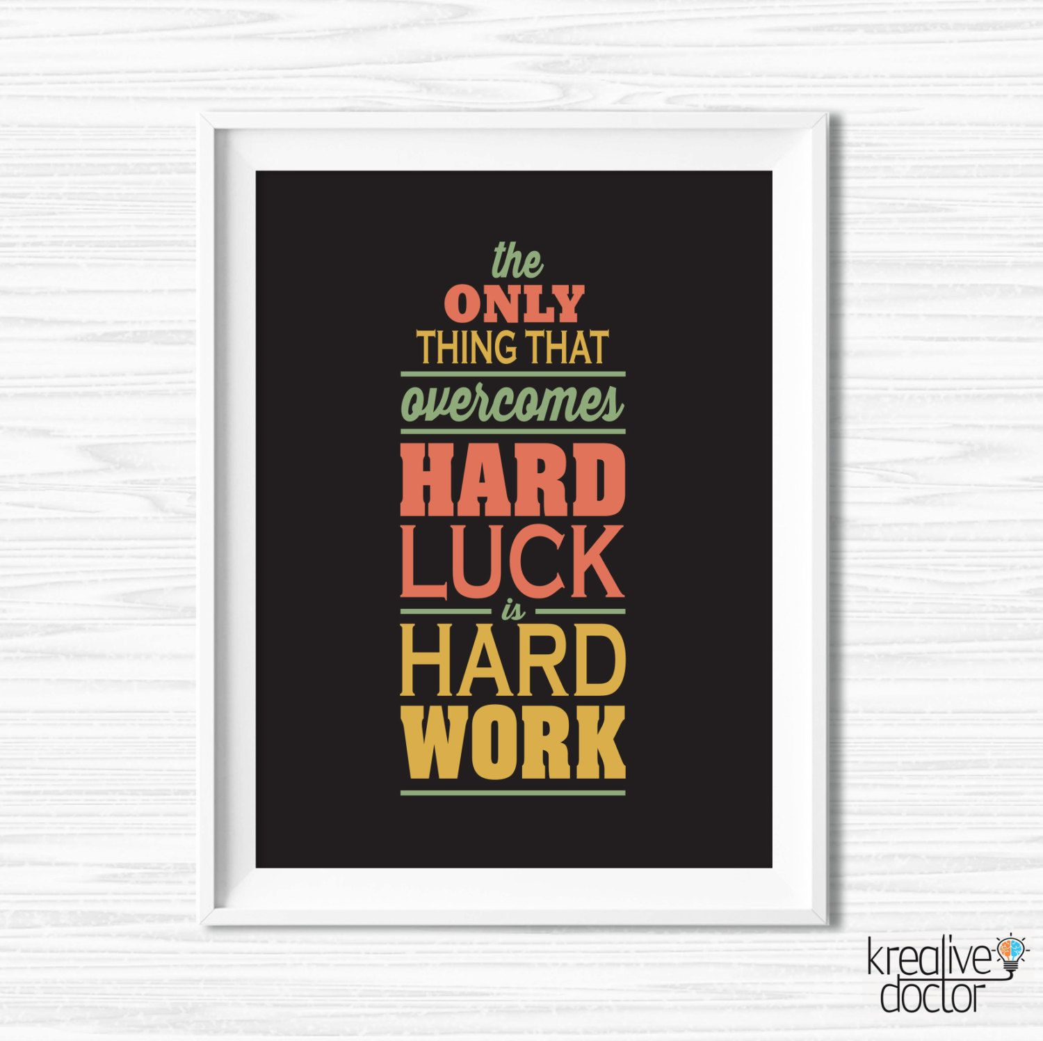 Work Hard Quote Office Wall Art Motivational Wall Decor ...