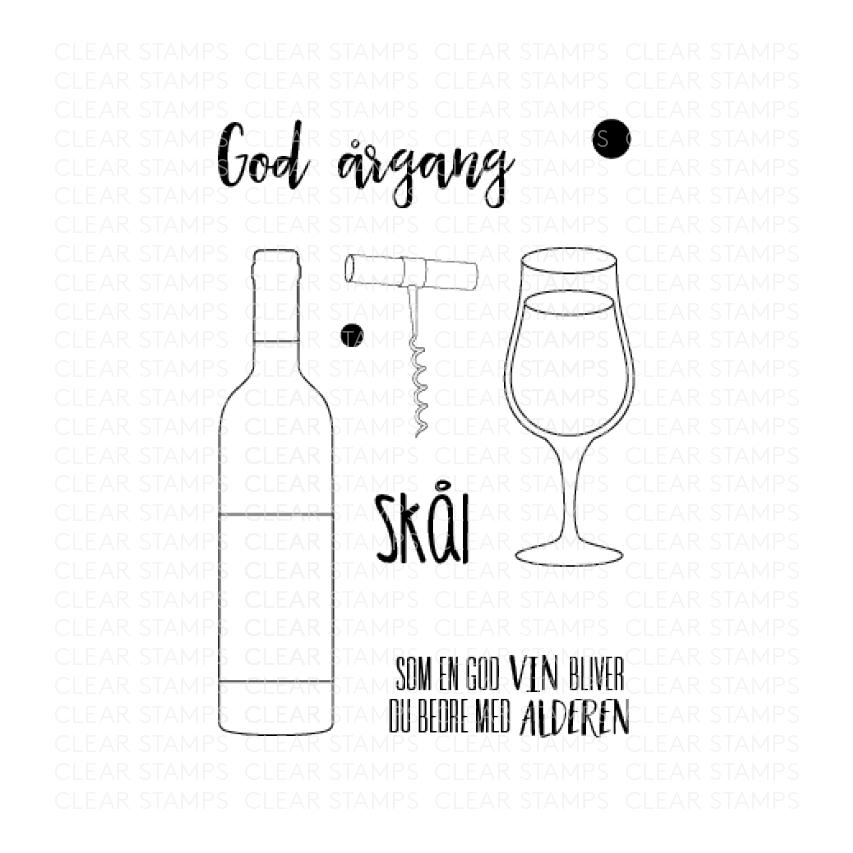 Three Scoops Clear Stamps vin flaske glas skål god årgang -