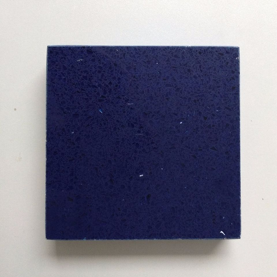 3000 1400mm 3200 1600mm Artificial Blue Sparkle Quartz Slabs Blue
