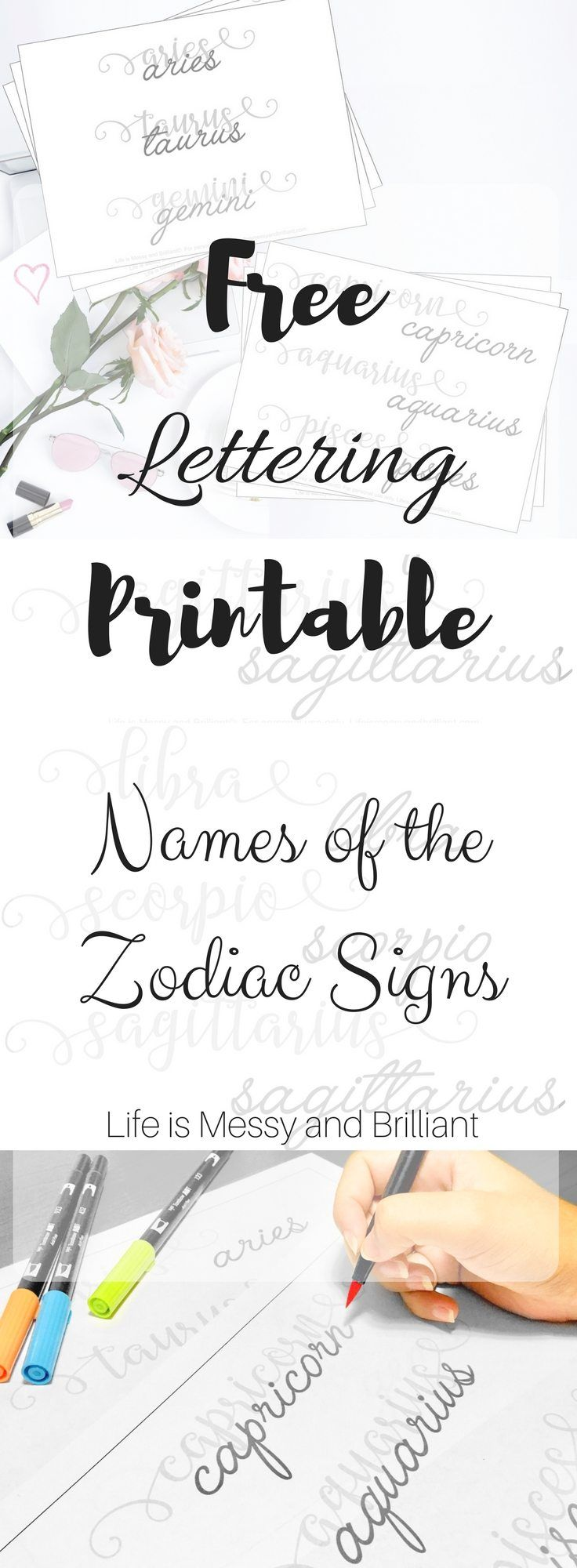 Predownload: Free Names Of The Zodiac Signs Lettering Printable Lettering Hand Lettering Worksheet Hand Lettering Practice Sheets [ 2000 x 736 Pixel ]