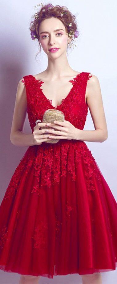 Robe gala courte rouge