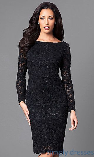 Knee Length Black Lace Party Dress With Sleeves Ropa