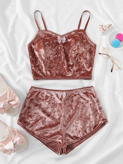 5bb92d65dd Shop Bow Detail Velvet Cami Pajama Set online. SheIn offers Bow Detail  Velvet Cami Pajama Set   more to fit your fashionable needs.
