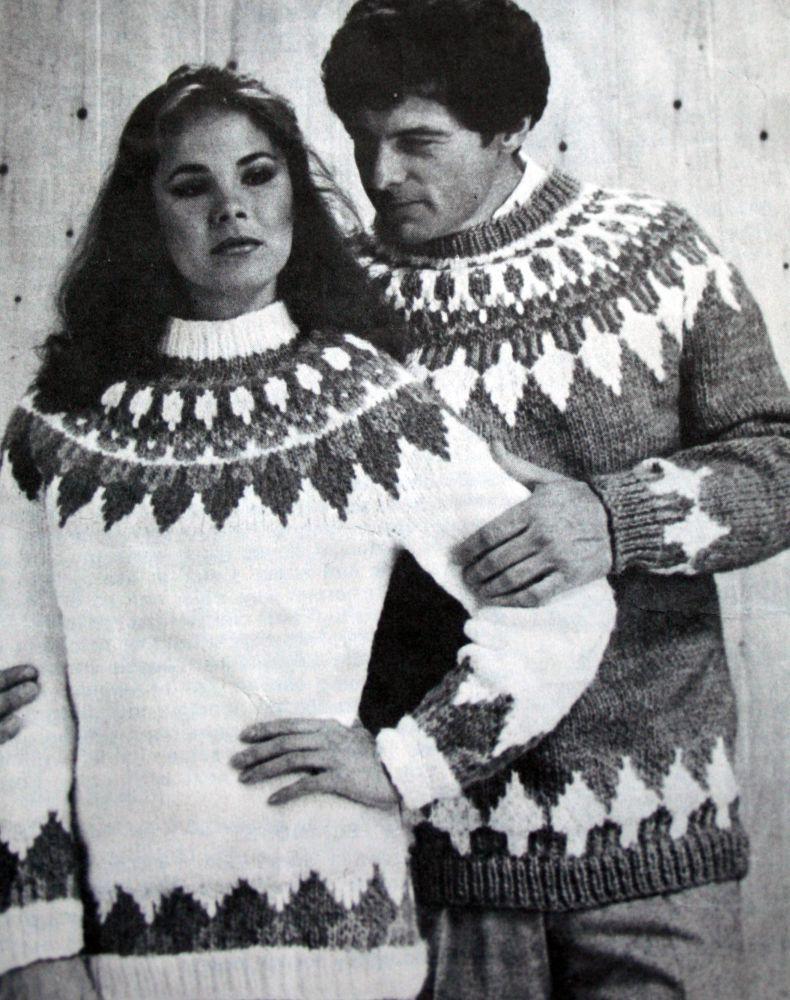 dc1ffd2de Sweater Knitting Pattern Ski Mary Maxim 6076 6077 6078 Nordic Icelandic Men…