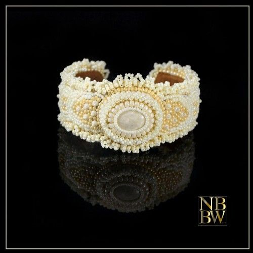 Beautiful handcrafted bead embroidered cuff bracelet.  Great for a wedding.