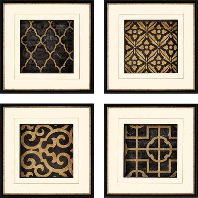 Paragon Ebony By Andrew 4 Piece Framed Graphic Art Set